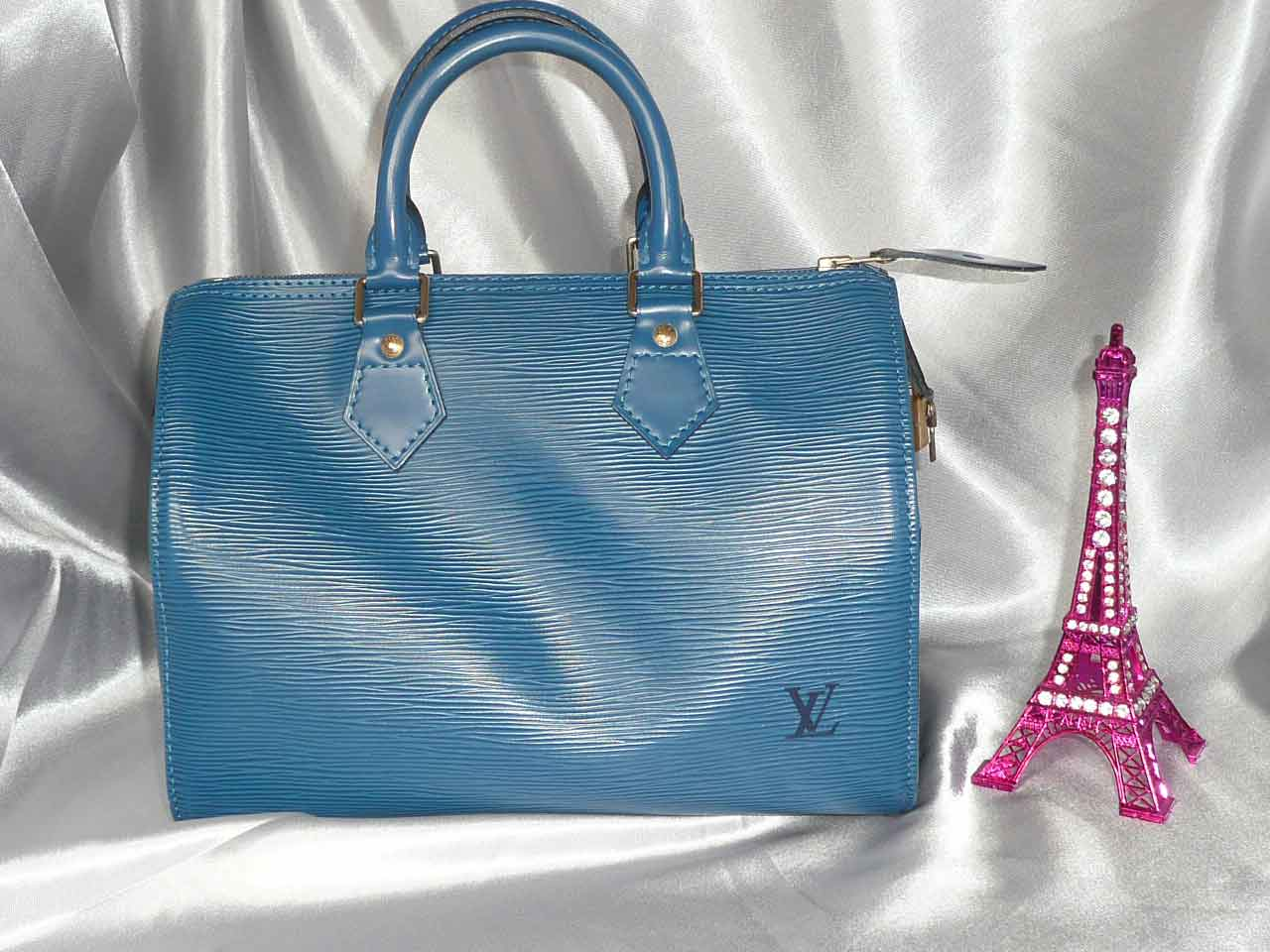 Louis Vuitton Speedy 25 cuir épi bleu
